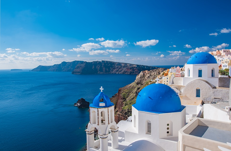 Blue church, Santorini, Greek Island Hopping