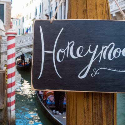 Romantic Honeymoon sign in the canal in Venice, the perfect Minimoon